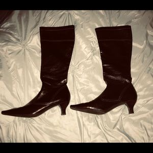Franco Sarto Glossy Brown Pull On Boots